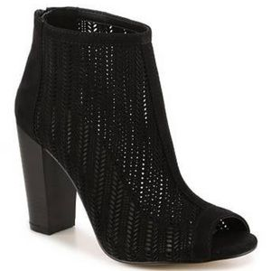 Aldo Waewiel Black Suede Heel Open Toe Booties